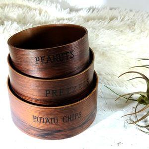 Vintage Nesting Wood Snack Bowls
